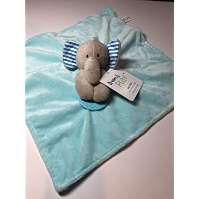 Dream & Play Aqua and White Elephant Security Blanket with Teething RIng and Crinkled Ear : Baby