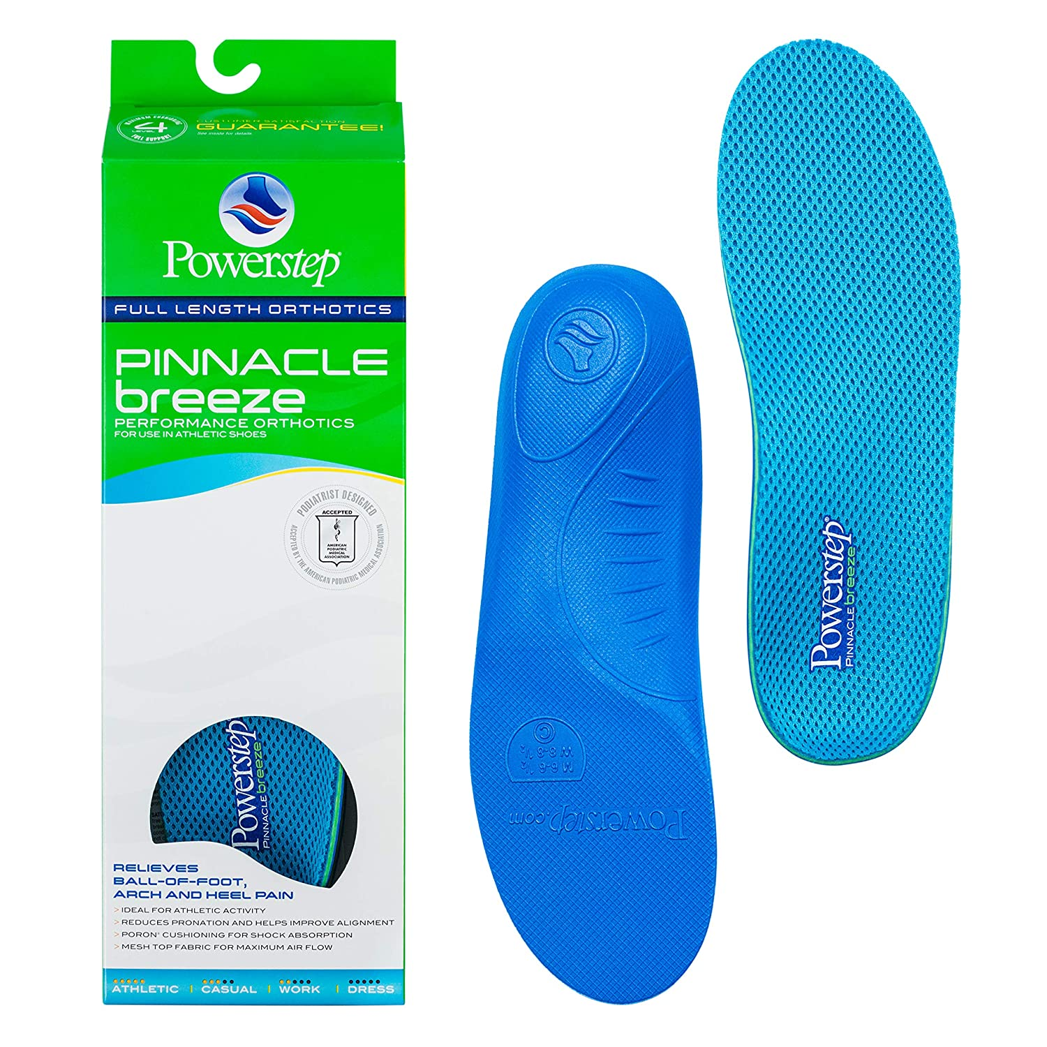Powerstep Arch Support Shoe Orthotic Inserts for Women and Men, Pinnacle Breeze Shock Absorbing Ventilated Shoe Insoles, Relieves Plantar Facsiitis, Foot, Heel and Knee Pain, Great for Running Blue Men's 14-15