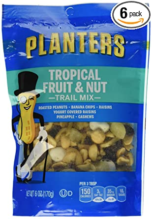 Planters Tropical Fruit & Nuts Trail Mix (6oz Bags, Pack of 6)