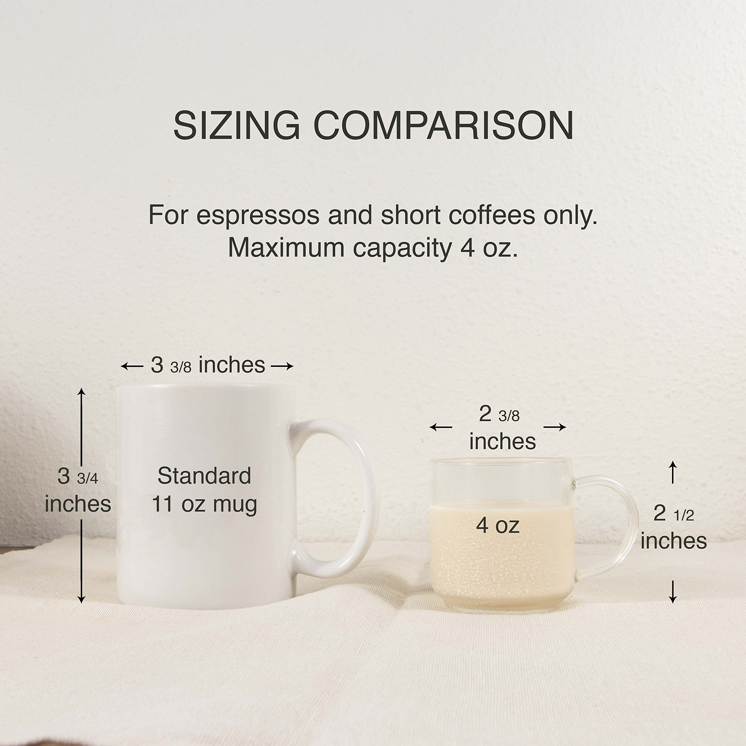 Zenco 4 oz (125ml) Coffee Glass Cups with Large Handle (Set of 6) - Perfect size for Nespresso Lungo, Single/Double Espresso, Juice or Sake by zenco (Image #7)