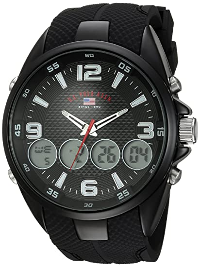 US Polo Assn. Mens Analog-Quartz Watch with Rubber Strap, Black, 27 (Model: US9596)
