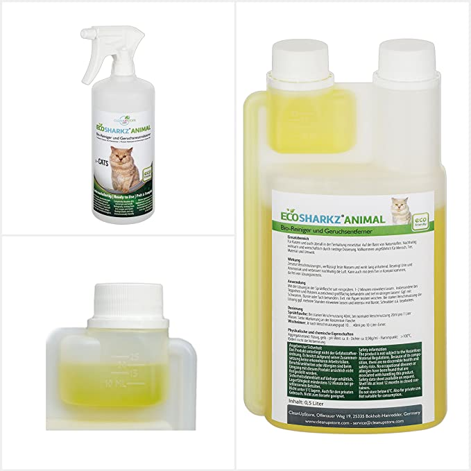 Neutralizadores de olor spray para gatos - natural removedor de la orina del gato - contra el olor de la caja de arena - Ecosharkz for Cats (500 ml de ...
