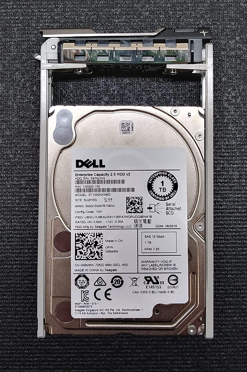 "56M6W - DELL ENTERPRISE CLASS 1TB 7.2K NL SAS 2.5"" 12Gb/s 128MB 512e HDD W/TRAY FOR POWEREDGE R610 R710 T610 R410 T410 T710 T310 R510 R810 R910 R720 R620 T620 R820 T320 T420 R320 R420 R920"