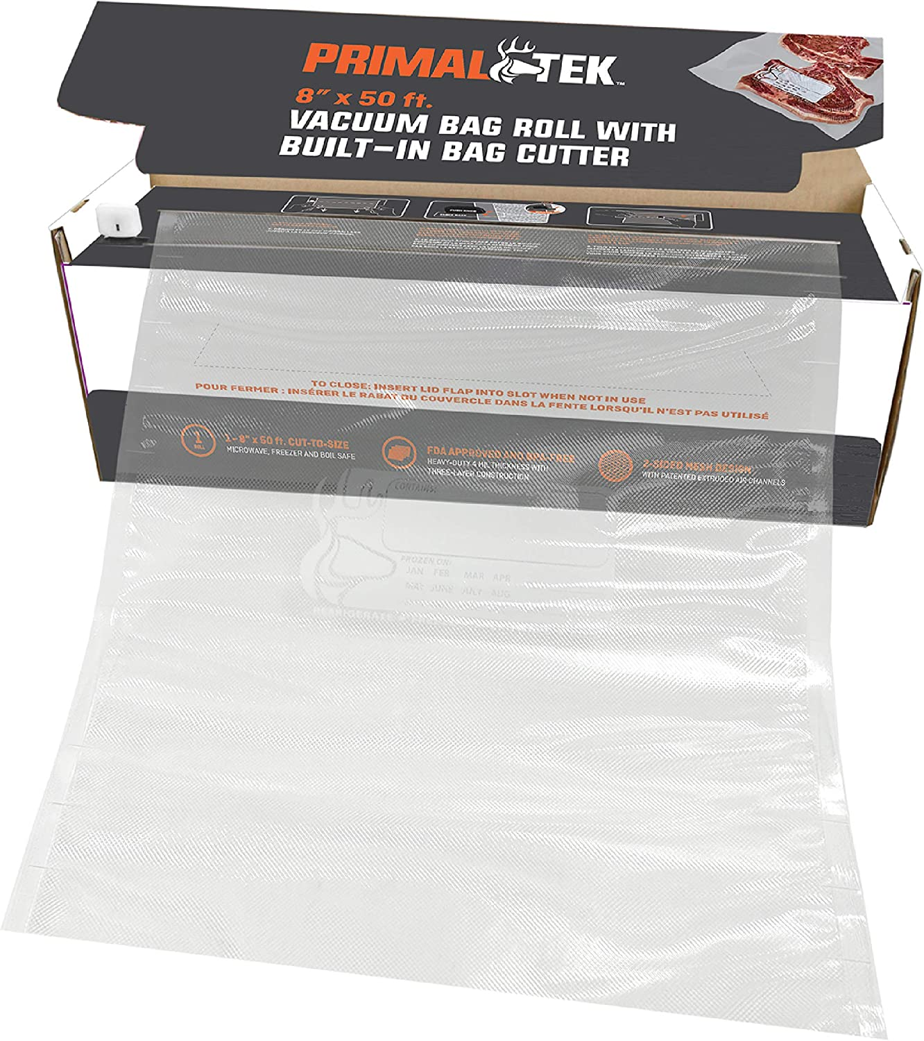 "PrimalTek Vacuum Bag Roll Cutter Box - User Friendly for Food Saver – Microwave, Freezer and Boil Safe, BPA-Free, Compatible with Most Vacuum Seal Machines (8"" x 50')"