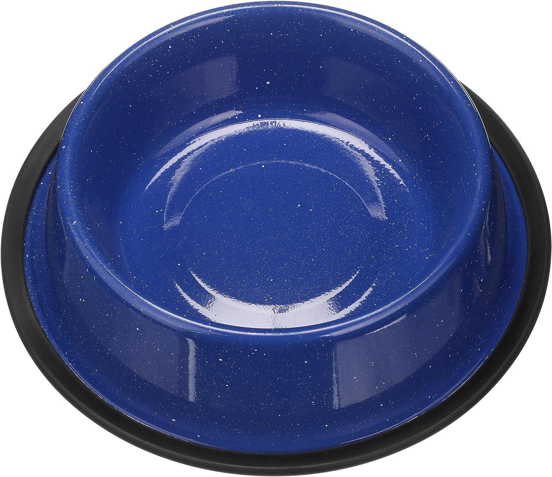Outdoor Camping Style Pet Bowl NEATER PET BRANDS Dog Cat No Tip Skid Bowls Enamel Ware Blue Black Granite Colors 32 oz, Blue