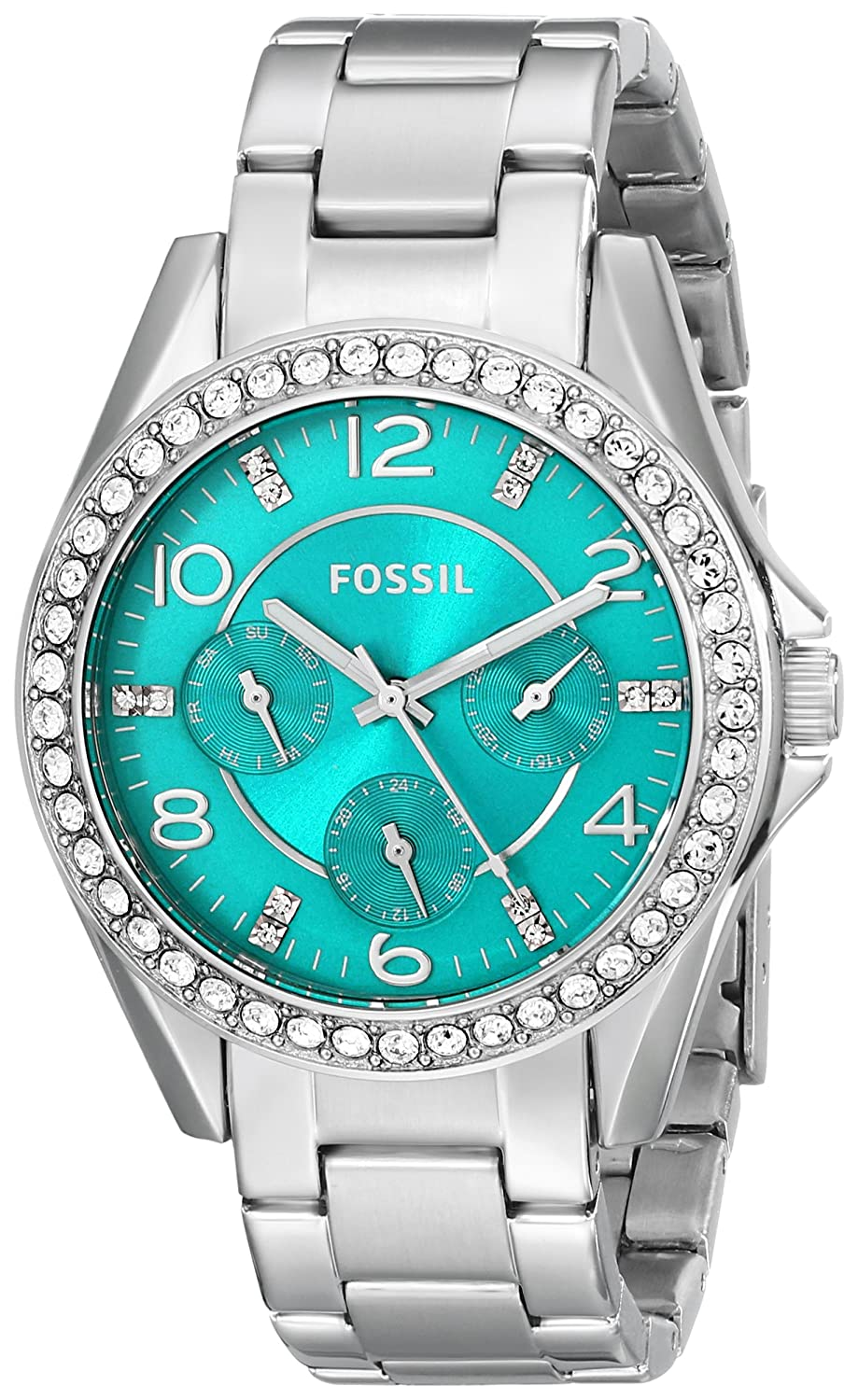 Amazon.com: Fossil Womens ES3766 Riley Crystal-Accented Stainless Steel Watch with Link Bracelet: Watches