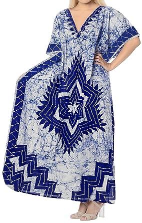 e8cbe9cacb LA LEELA Women's Cotton Plus Cover up Lounge Sleep Night wear Caftan Long  Dress Blue
