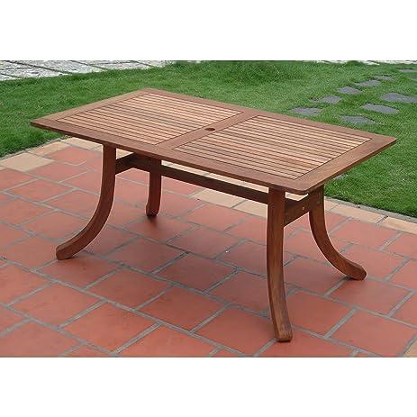 Vifah V189 Outdoor Eucalyptus Rectangular Table With Curvy