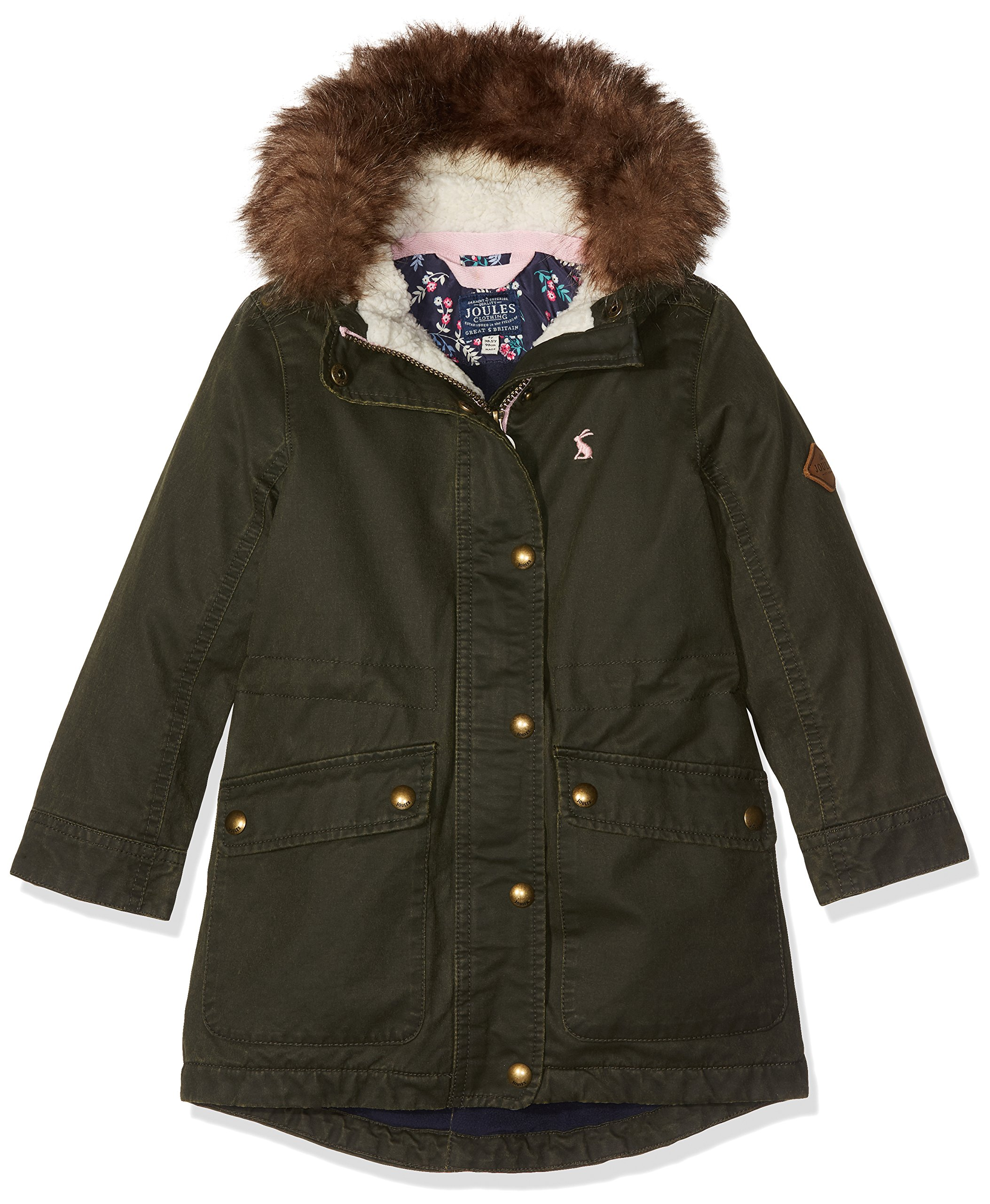 Joules Big Girls' Wynter Faux Wax Parka, Everglade, 9-10 by Joules (Image #1)