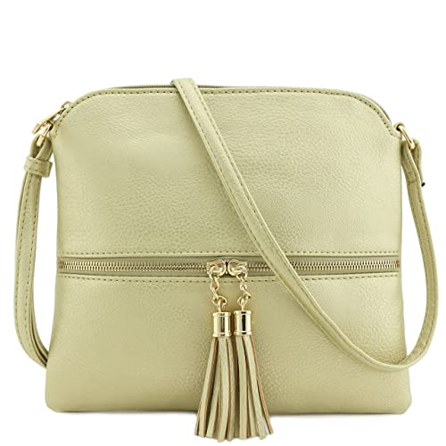 7b2eb44ae394 Amazon.com  Tassel Accent Medium Crossbody Bag Pale Gold  Shoes