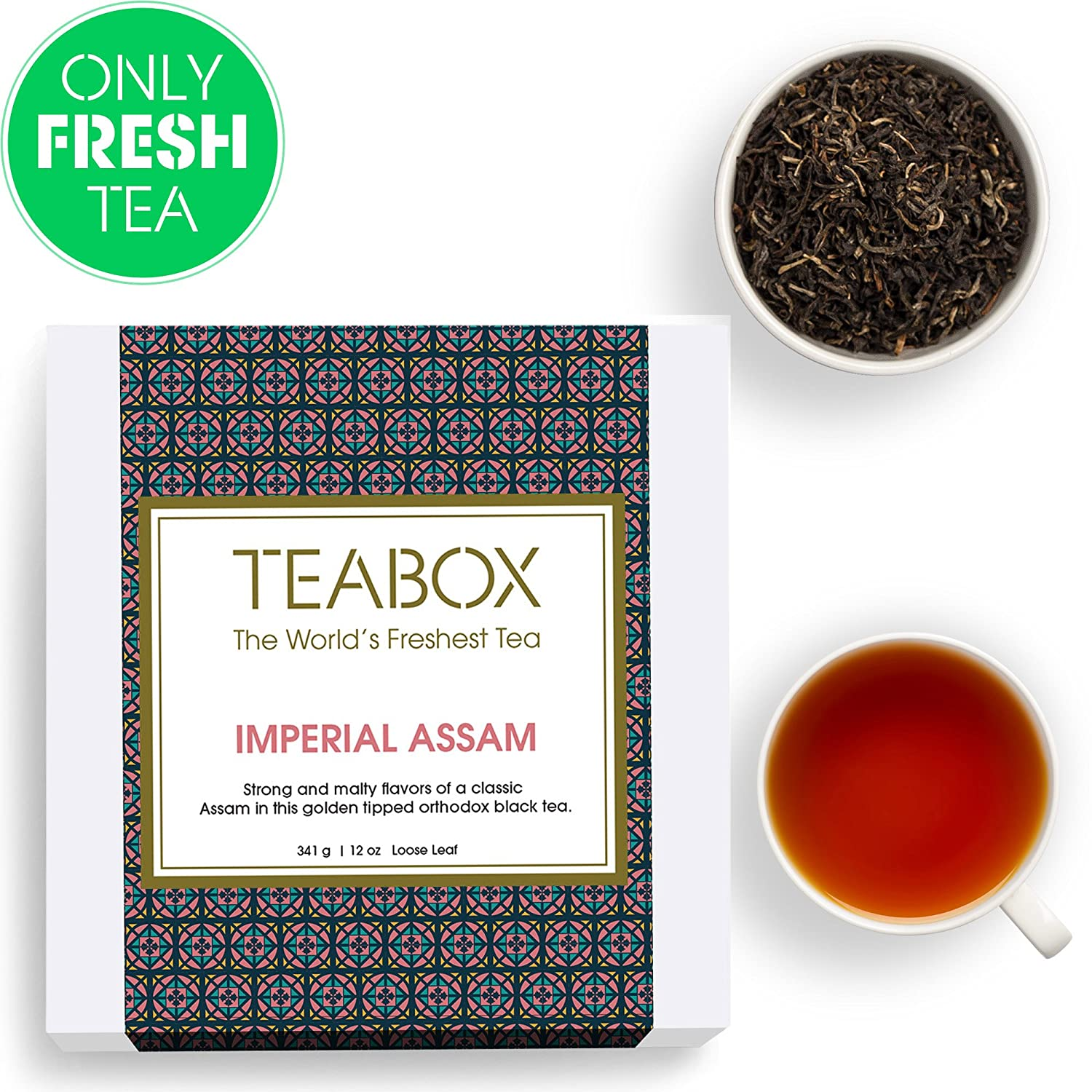 Teabox Assam Black Tea, 16 Teabags | 100% Natural Fresh Orthodox Assam CTM Black Tea | Strong Malty Flavor Notes | Sealed-at-Source Freshness from India