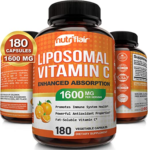 NutriFlair Liposomal Vitamin C 1400mg, 180 Capsules - High Absorption, Fat Soluble...
