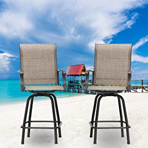 LOKATSE HOME 2 Piece Bar Height Patio Chairs Outdoor Swivel Stools Set Furniture with All Weather Metal Frame, Khaki
