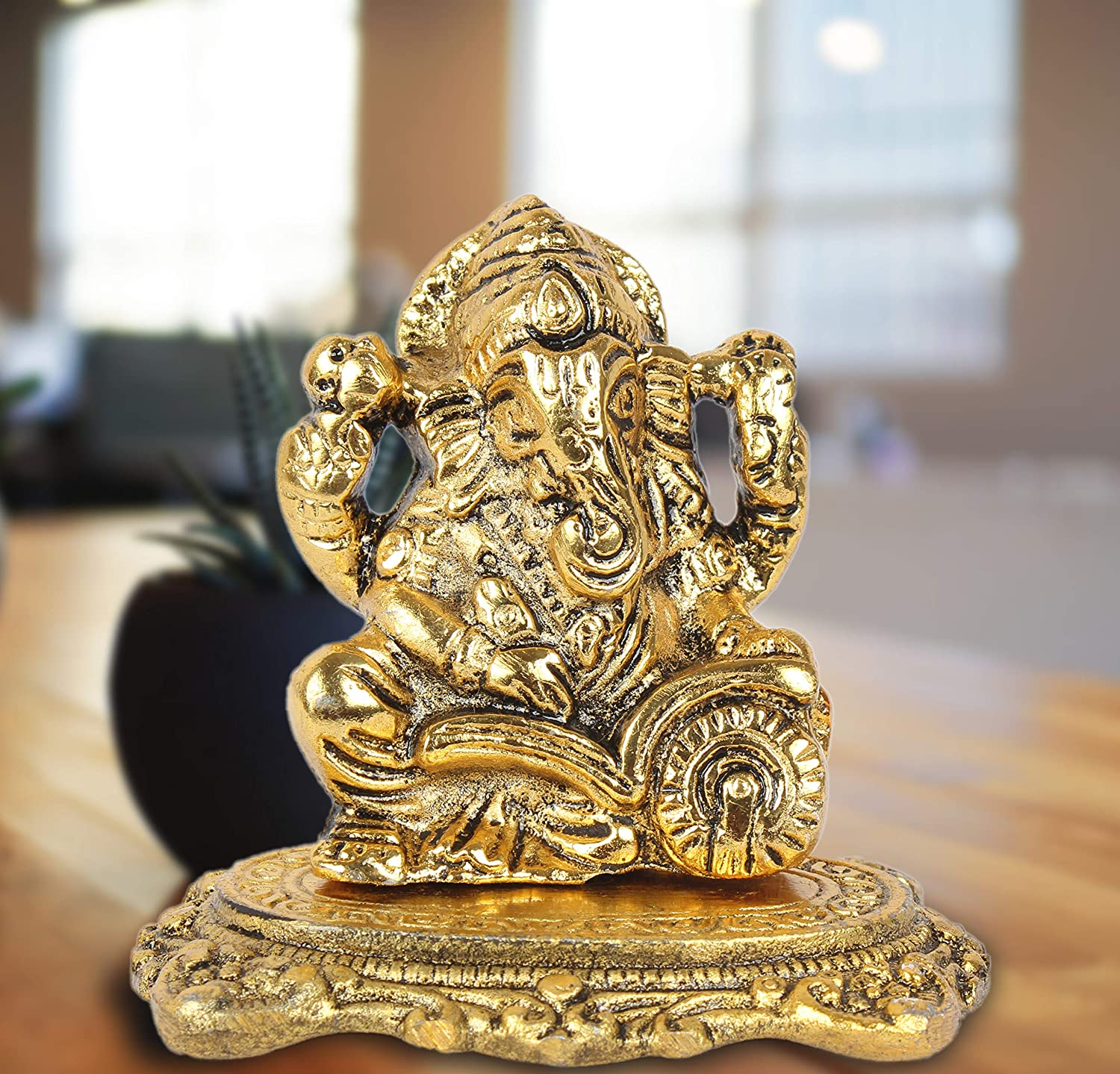 Buy Dreamkraft White Metal Gold Plated Ganesh Idol Showpiece For