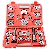 TRESKO® Coffret repousse piston d'étriers de freins pour remplacement de disque Outil et adaptateurs , de mâchoire ou de plaquettes de frein, Set de 22 pièces, Kit universel pour beaucoup de marque de voiture