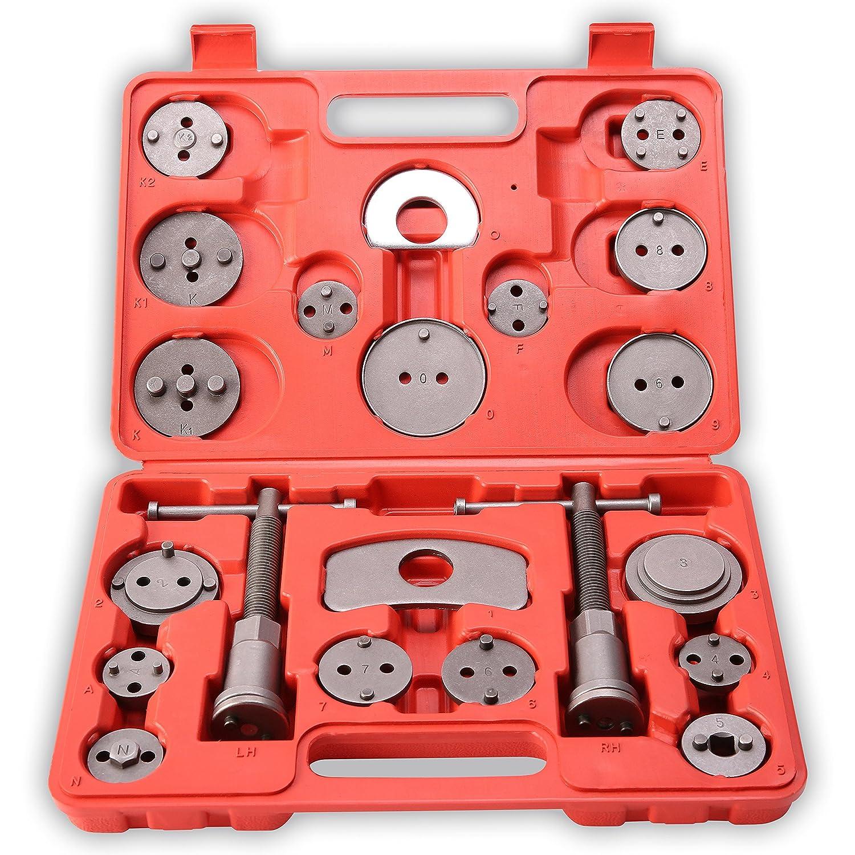 TRESKO 22 Pezzi Set di ripristino pistone del freno per spostare indietro il pistone dei freni a disco, ganasce dei freni o per il cambio delle pastiglie, 22 pezzi, universale DWD-Company