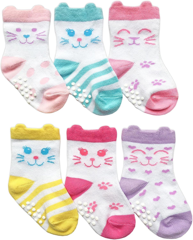 Jefferies Ruffle Dot//Stripe Non Skid 2 Pk Socks  Infant or Toddler