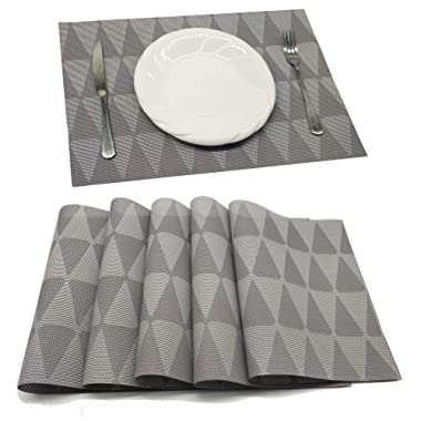 Tennove Placemat Set of 6, Crossweave Woven Vinyl Table Mats Non-Slip Insulation Placemat Washable Placemats for Kitken Table (SANJIAOHUI)