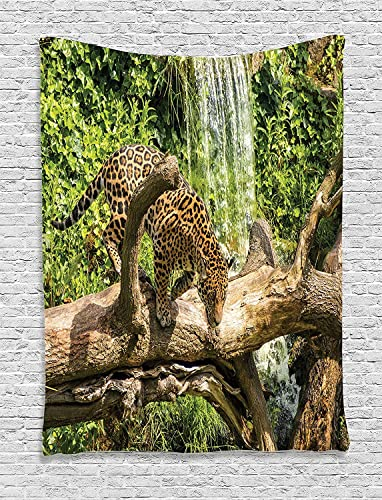 Ambesonne Safari Tapestry, Jaguar Cat on Tree Trunk Waterfall Endangered Species Wild Life Fast Animal, Wall Hanging for Bedroom Living Room Dorm, 60 X 80 , Green Pale Brown