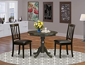 East-West Furniture wooden dining table set- 2 Fantastic wooden dining chairs - A Gorgeous round wooden table- PU Leather seat and Cappuccino Finnish wood table