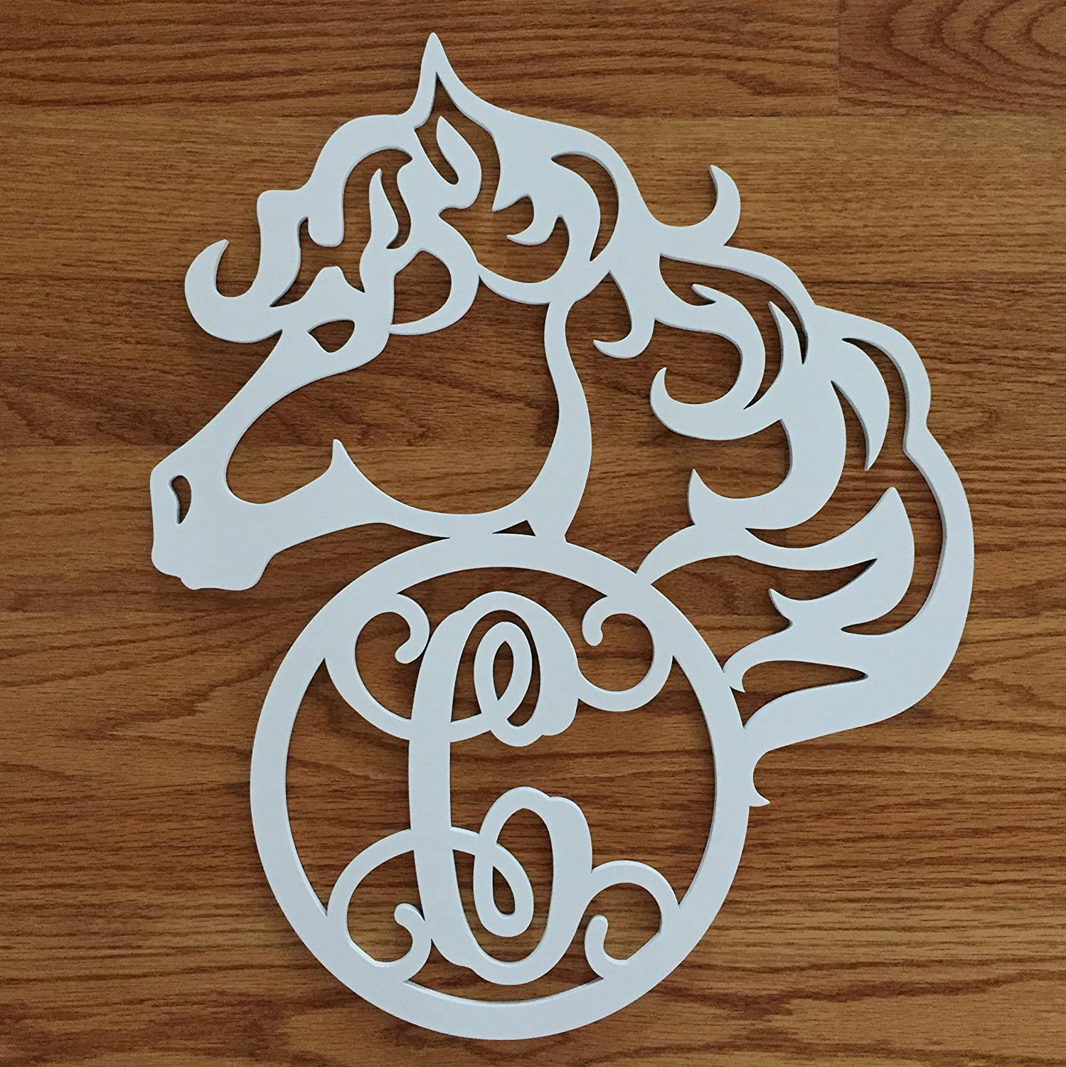 Monogram Horse Door Hanger - Horse Wreath - Horse Door Hanging - Country Door Hanger - Horse Initial Wreath - Farm Door Hanger - Horse Cutout