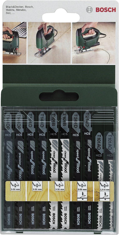 Bosch 2 609 256 744 - Juego de hojas de sierra de calar de 10 piezas vástago en T