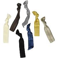Kenz Laurenz 100 Hair Ties No Crease Ribbon Elastics Ouchless Ponytail Holders Hair Bands (100 Hair Ties-Neutral Tones)