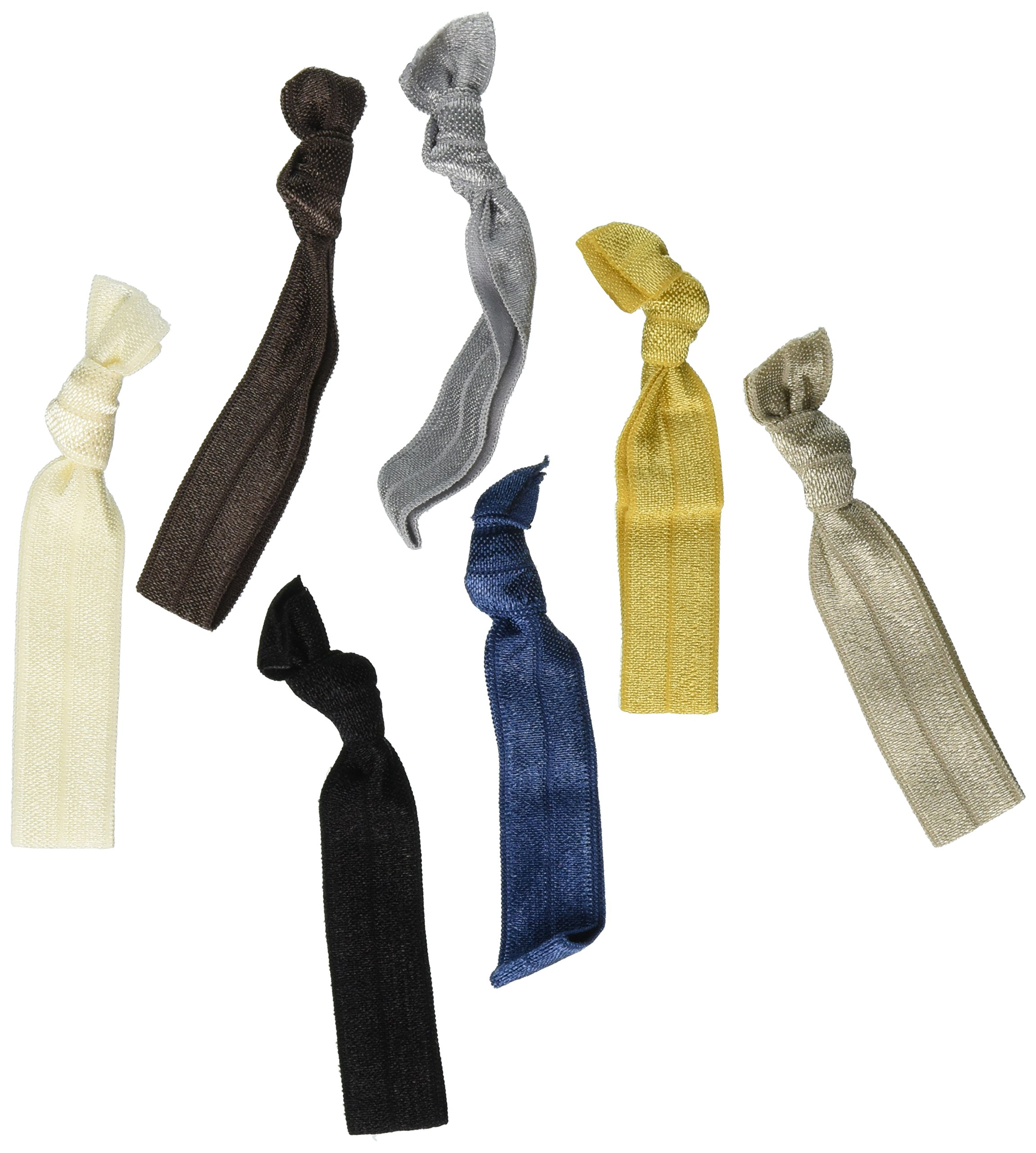 Kenz Laurenz 100 Hair Ties No Crease Ribbon Elastics Ouchless Ponytail Holders Hair Bands (100 Hair Ties---Neutral Tones)