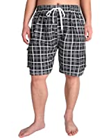 Men's Extended Size Quick Dry Plaid Swim Trunk with 4 Pockets