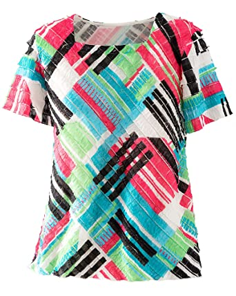 Alfred Dunner Tiered Shutter Pleat Blouse At Amazon Women S Clothing