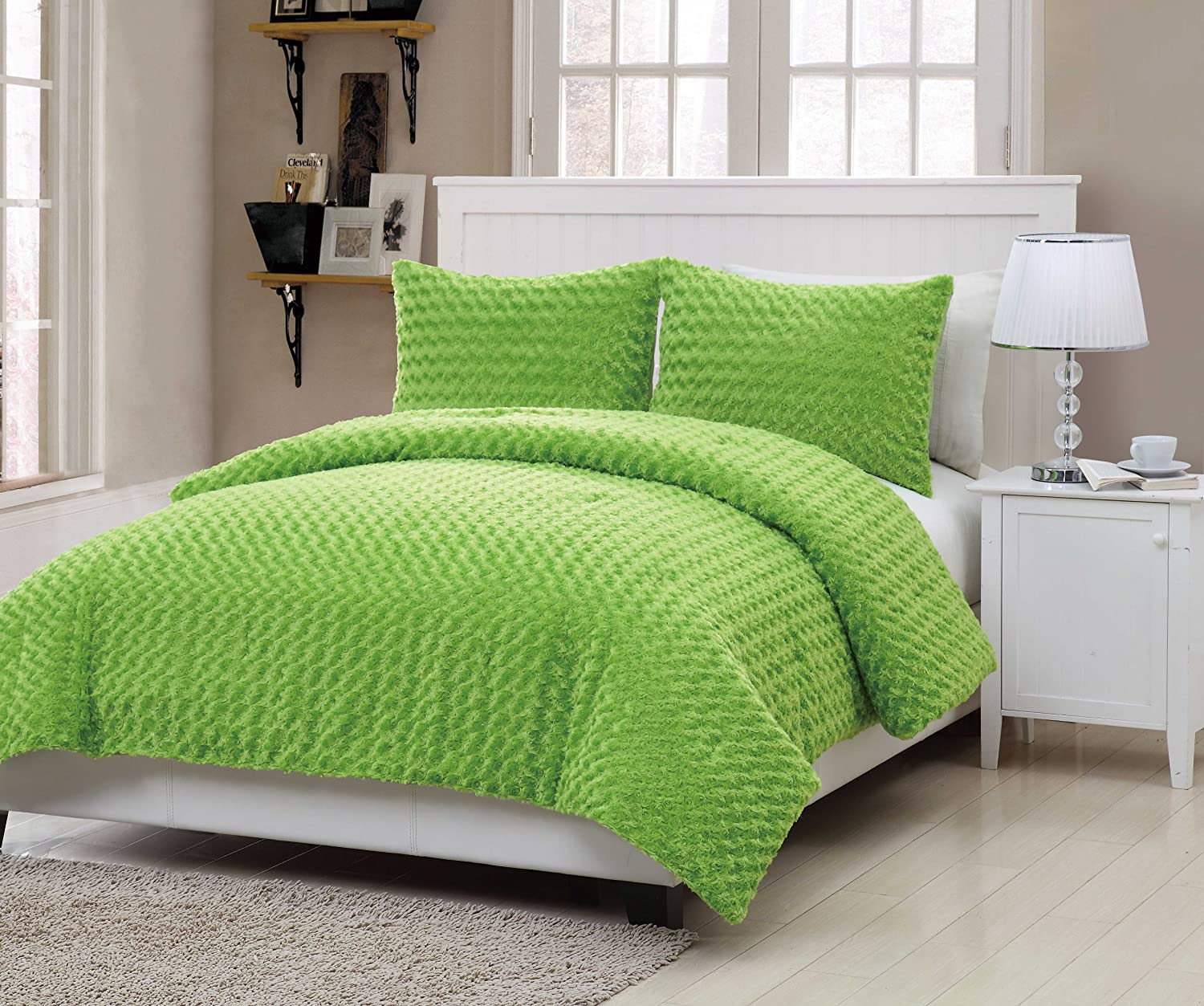Green bedding set - Amazon Com Vcny Rose Fur 3 Piece Comforter Set Full Green Home Kitchen