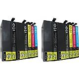ESMOnline Lot de 10. XXL et XL Cartouches d'encre de rechange EPSON WF 362036407620761071104x Noir/2x bleu/2x rouge 2x jaune