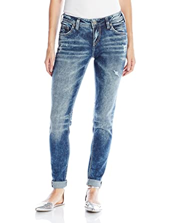 4f9b8a03 Amazon.com: Silver Jeans Co. Women's Kenni Girlfriend Relaxed Skinny ...
