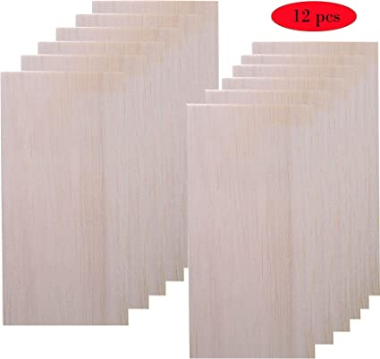 Amazon Com 12 Pack Balsa Wood Sheet For Crafts Thin Wood Sheets For Plane Craft And School Project 200 100 Mm 2 Mm