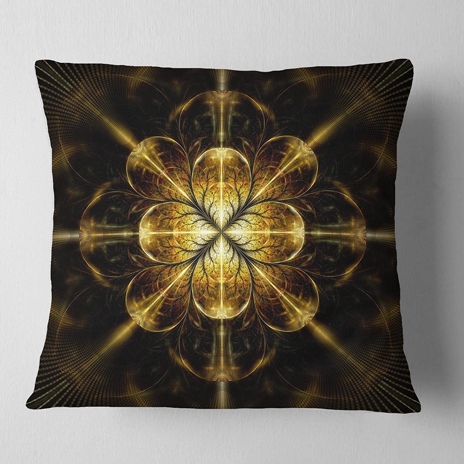 Insert Printed On Both Side Sofa Throw Pillow 26 in Designart CU12035-26-26 Gold Symmetrical Large Fractal Flower Floral Cushion Cover for Living Room in x 26 in