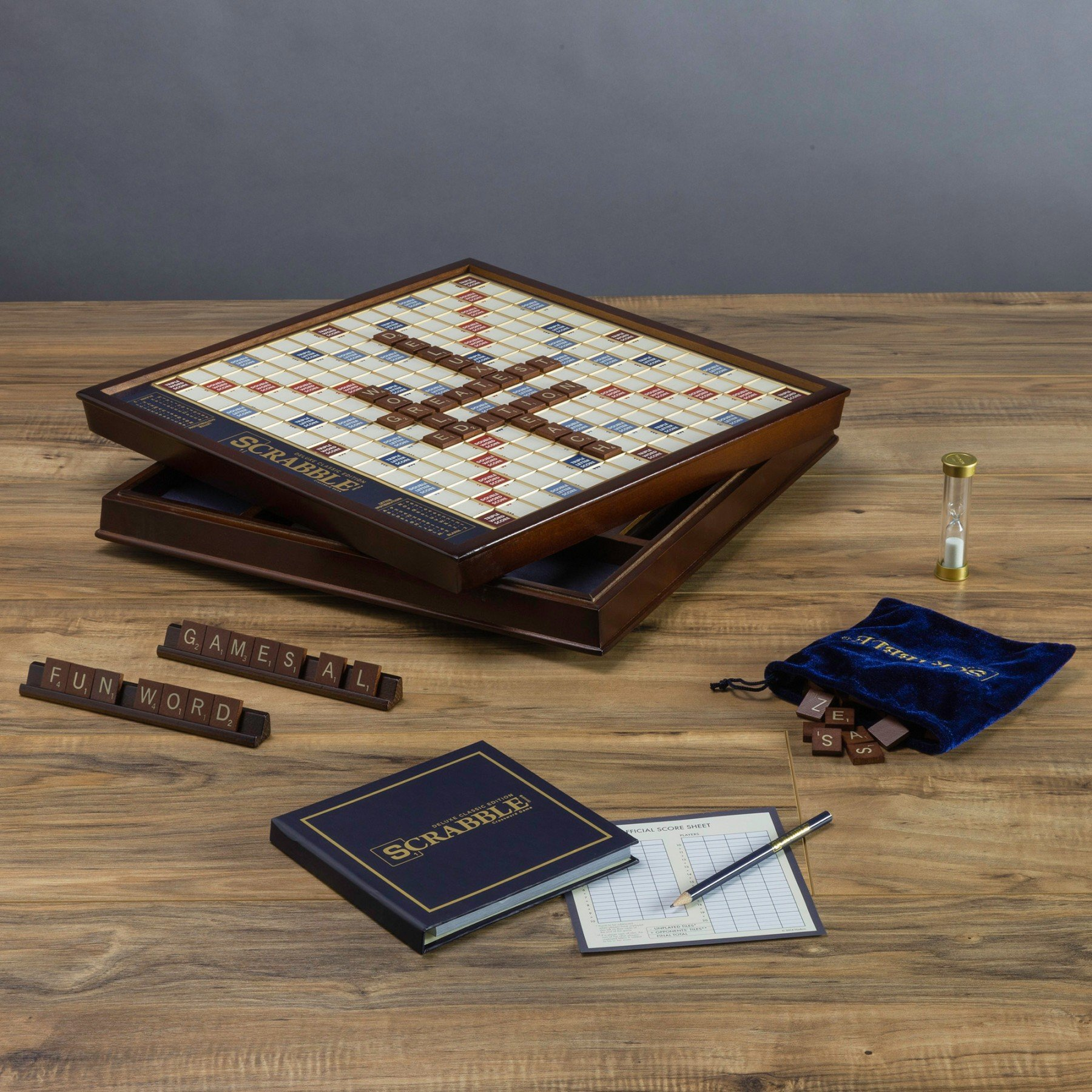 Scrabble Deluxe Edition with Rotating Wooden Game Board by WS Game Company (Image #4)