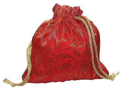 Amazon.com: Sarita Creations - Bolsa de seda con cordón rojo ...