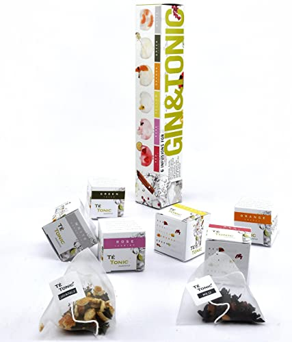 Nr 1 Most Original Gin Gift set, Té Tonic Nanopack with 6 Infusions for flavoring Gin Tonic cocktail with fresh Botanicals, spices, herbs and flowers
