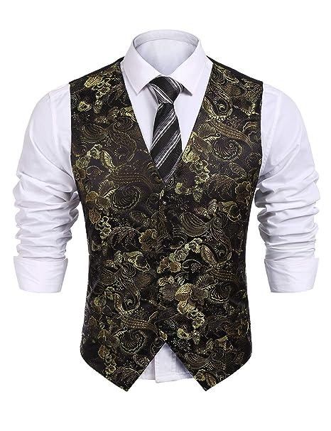 Amazon.com: Para hombre 5-buttons Formal vestido de Paisley ...