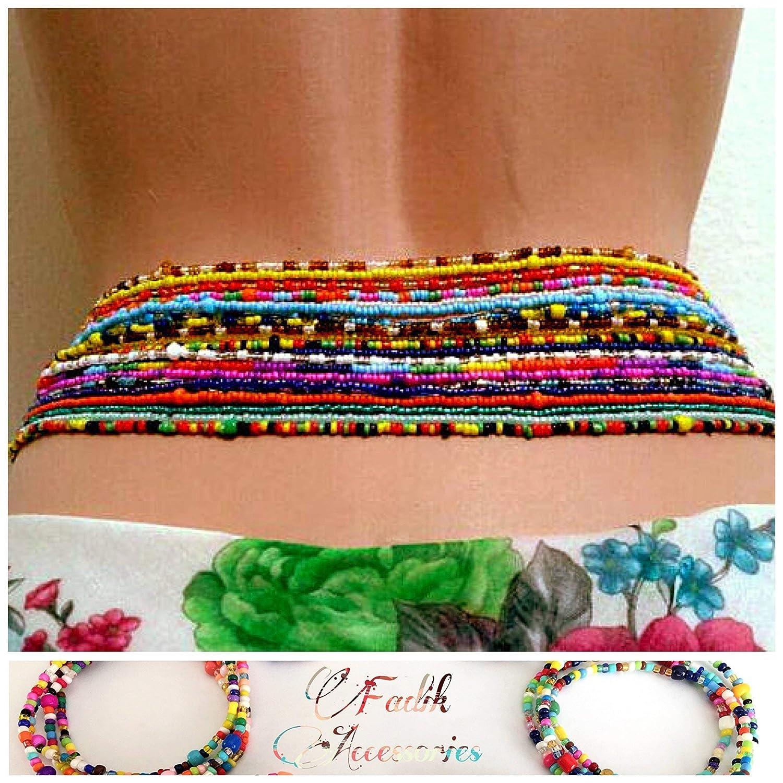Amazon Com Waist Bead 2 Pcs Sizes 40 To 57 Belly Beads Waist Bead Choose Color Stretchy Elastic String African Waist Beads Body Chain Beaded Belly Chain Waist Chain Summer Jewelry Bikini Jewelry