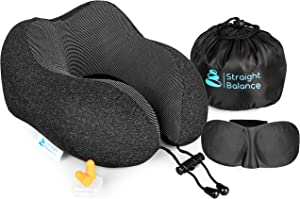 Straight Balance Travel Pillow | Premium 100% Pure Memory Foam | Comfortable and Breathable | Travel Kit with Neck Support, Cooling Lycra Cover, Sleep Mask, Earplugs and Luxury Bag