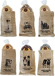 product image for Amish Country Popcorn | 6 Piece Burlap Gift Set (2 Pounds Each) Medium Yellow, Baby White, Medium White, Rainbow, Red, & Blue Kernels | Old Fashioned with Recipe Guide