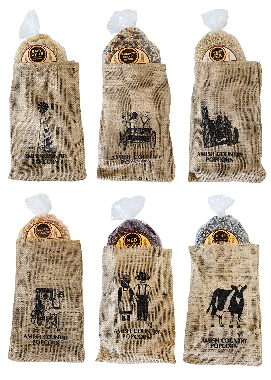 Amish Country Popcorn   6 Piece Burlap Gift Set (2 Pounds Each) Medium Yellow, Baby White, Medium White, Rainbow, Red, & Blue Kernels   Old Fashioned with Recipe Guide