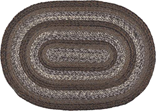 IHF Home Decor Night Shadow Braided Rug 20″ x 30″ to 8'x10' Oval Accent Floor Carpet Natural Jute Material Doormat | Brown
