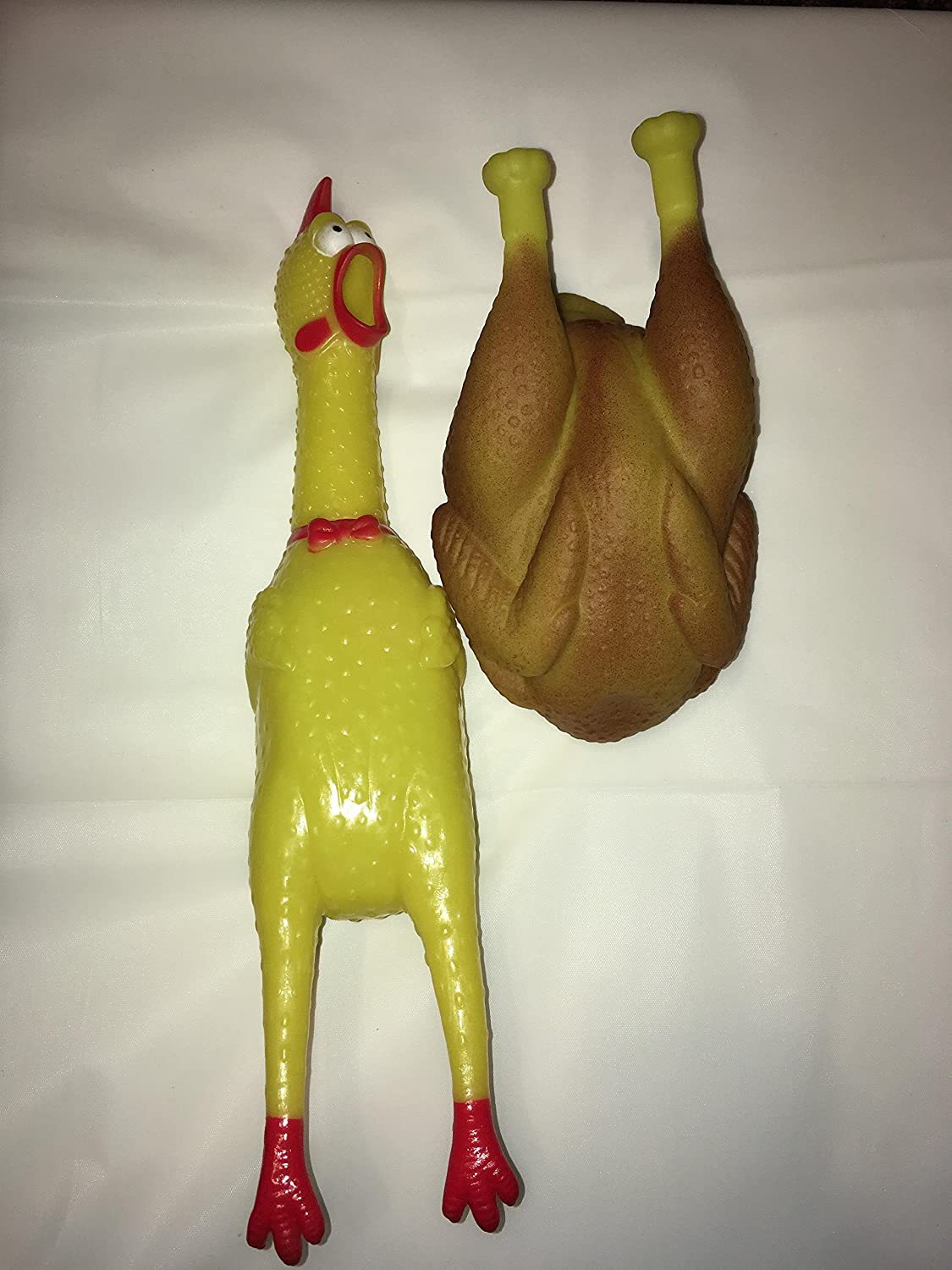 Squeaky Chicken Dog Chew Toys: 2 Items - Fun & Durable Squeaky Fetch Playtime & Appetizing Full Sized Chicken & 1 Large Roasted Chicken / Turkey Perfect for Medium & Large Sized Dogs
