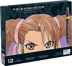 Prismacolor Premir 1759444 Marcadores artísticos de doble punta, juego de 12 colores surtidos para manga