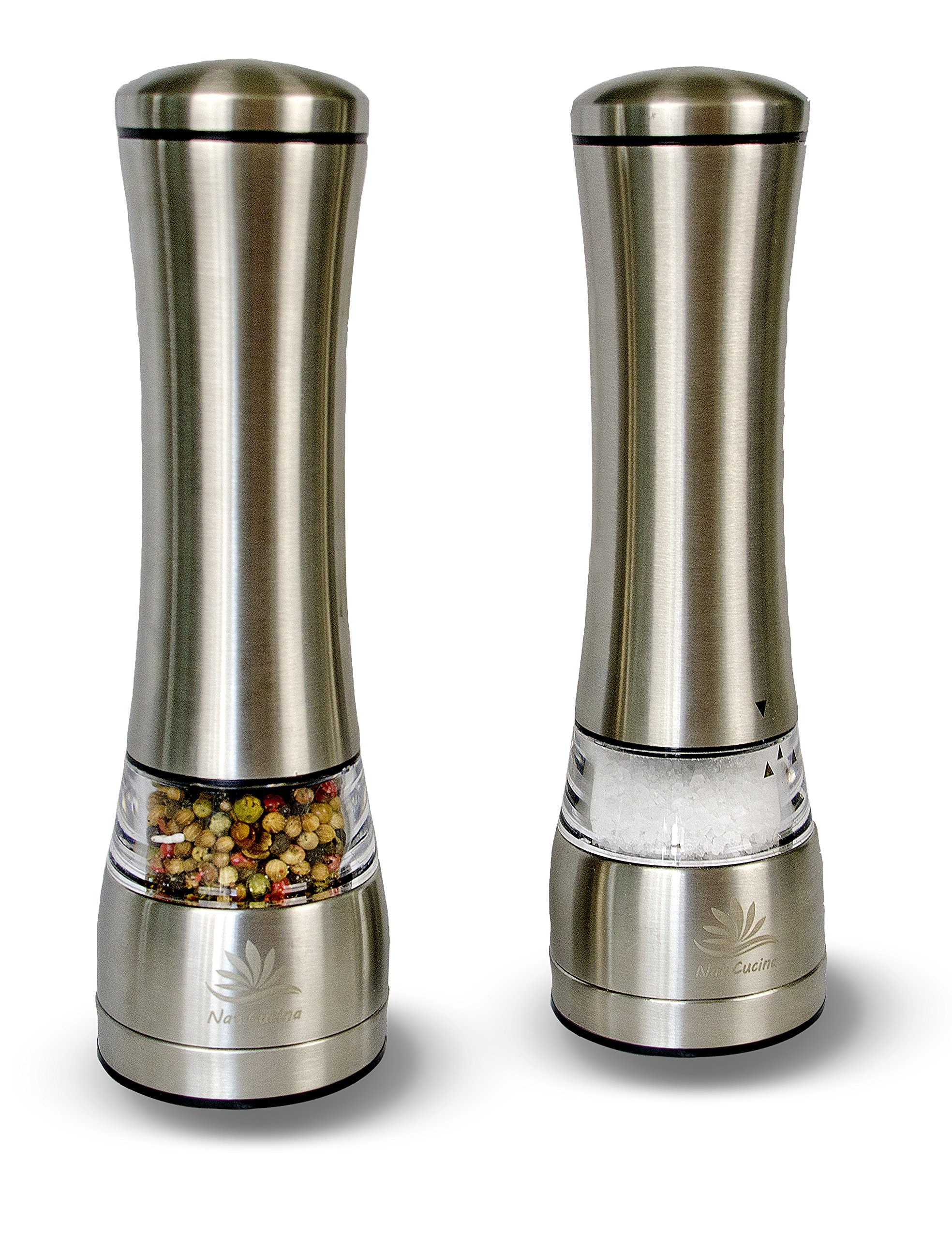 Large Salt / Pepper Grinders by NAT-CUCINA in 18/10 Stainless Steel Available in a Set or Single