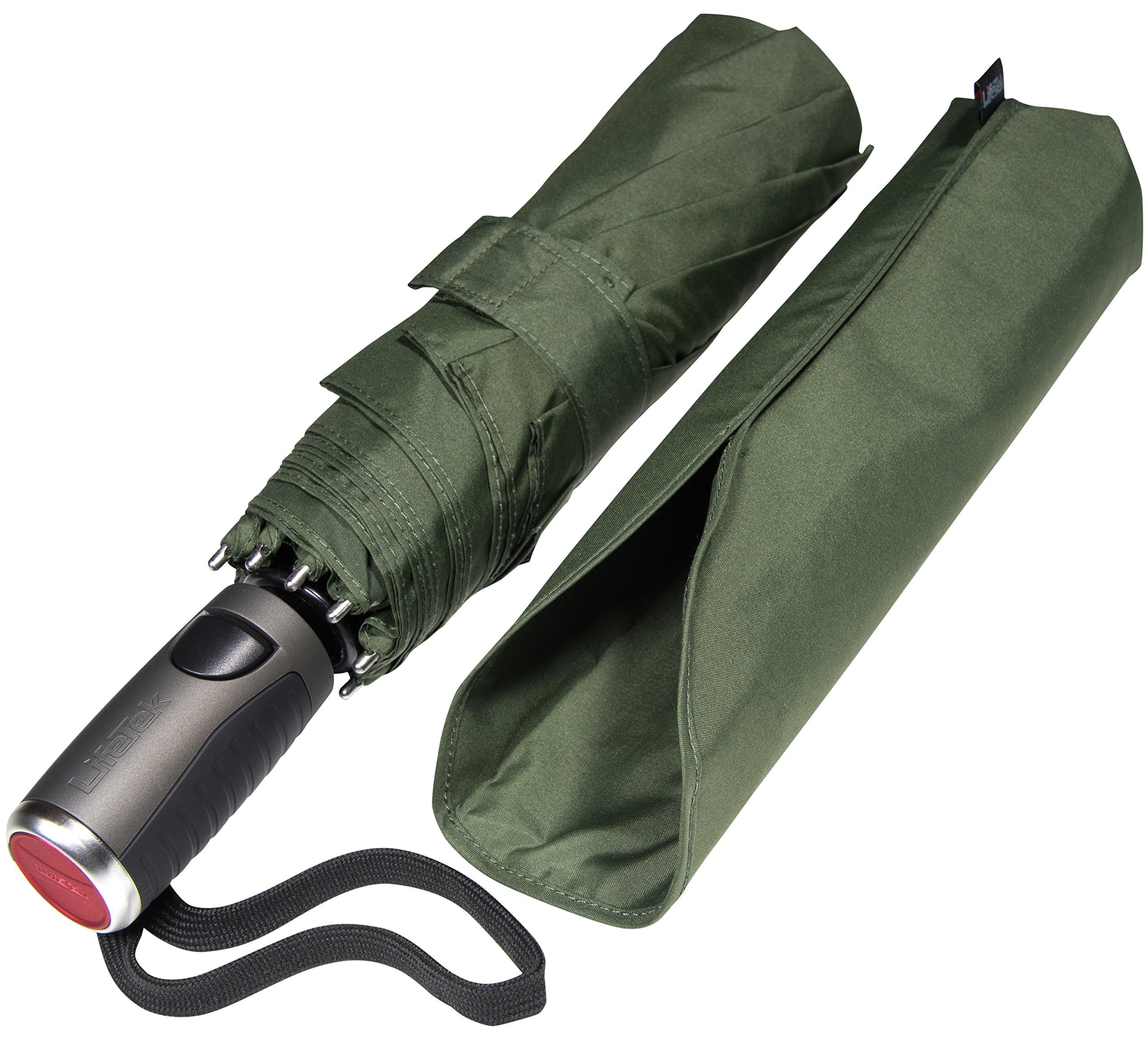 LifeTek Windproof Travel Umbrella Compact Automatic Open Close Small Folding Teflon Repellent Canopy Umbrellas fits Golf Purse Backpack Wind Resistant for Men and Women Traveler FX1 45 inch Green