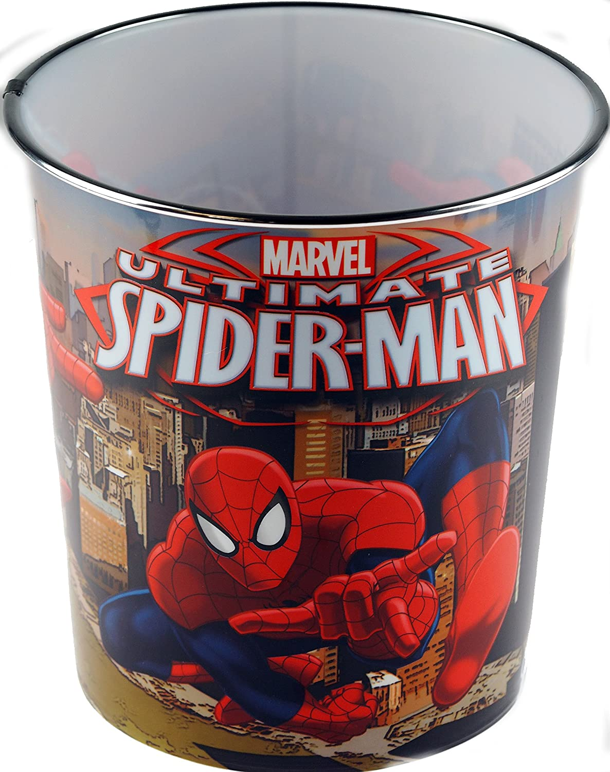 Marvel Spiderman Children's Bedroom Waste Paper Bin - NEW Skyline