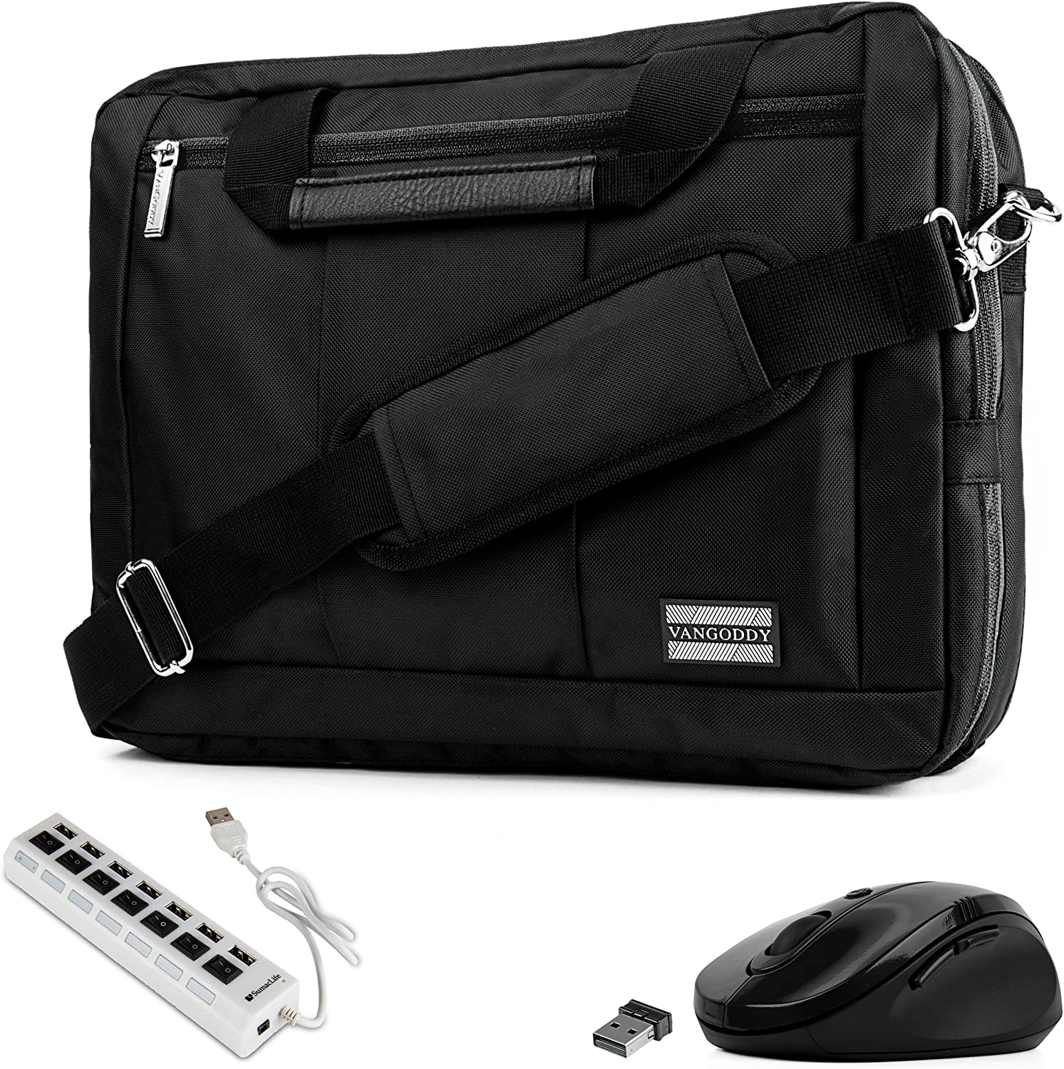 """Black Trim Convertible Laptop Bag, USB Hub, Mouse for Dell Inspiron, Latitude, XPS, ChromeBook 11"""" to 13.3 inch"""